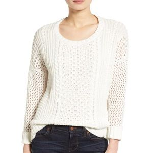 Madewell Karlie Cable Knit Cream Sweater Large